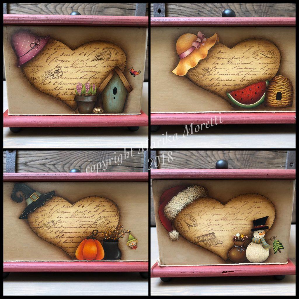 Pittura Country: scatola in legno dipinta con 4 disegni diversi! Uno per ogni stagione!