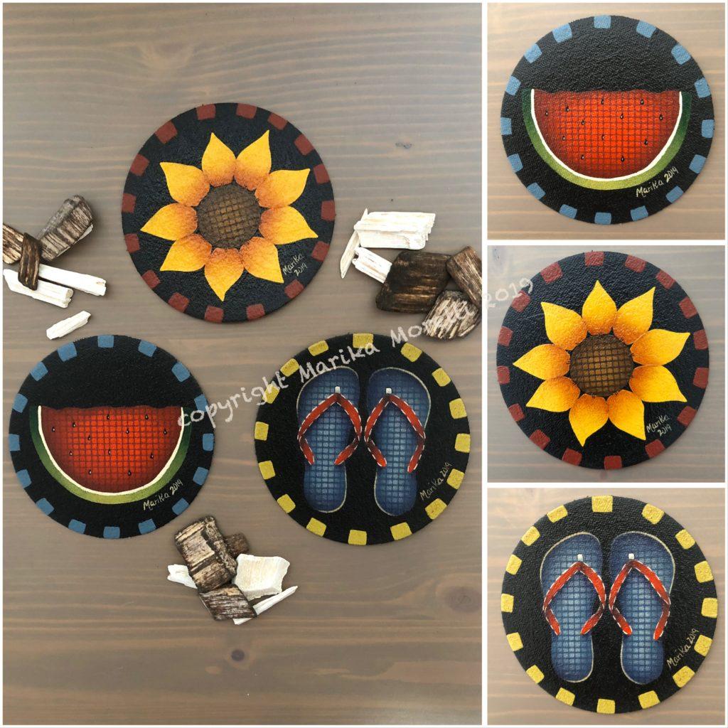 Pittura Country: pattern per l'estate con girasole, anguria e ciabattine