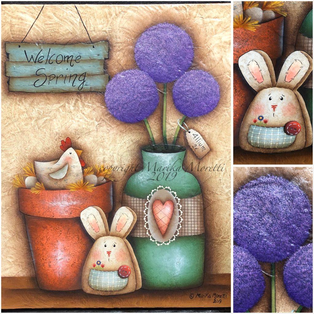 Country Painting su tela: Welcome spring è un progetto realizzato con acrilici per decorare la tua primavera