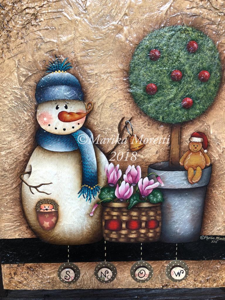 Pittura Country: progetto Natale su tela con pupazzo di neve, fiori e un simpatico gingerbread