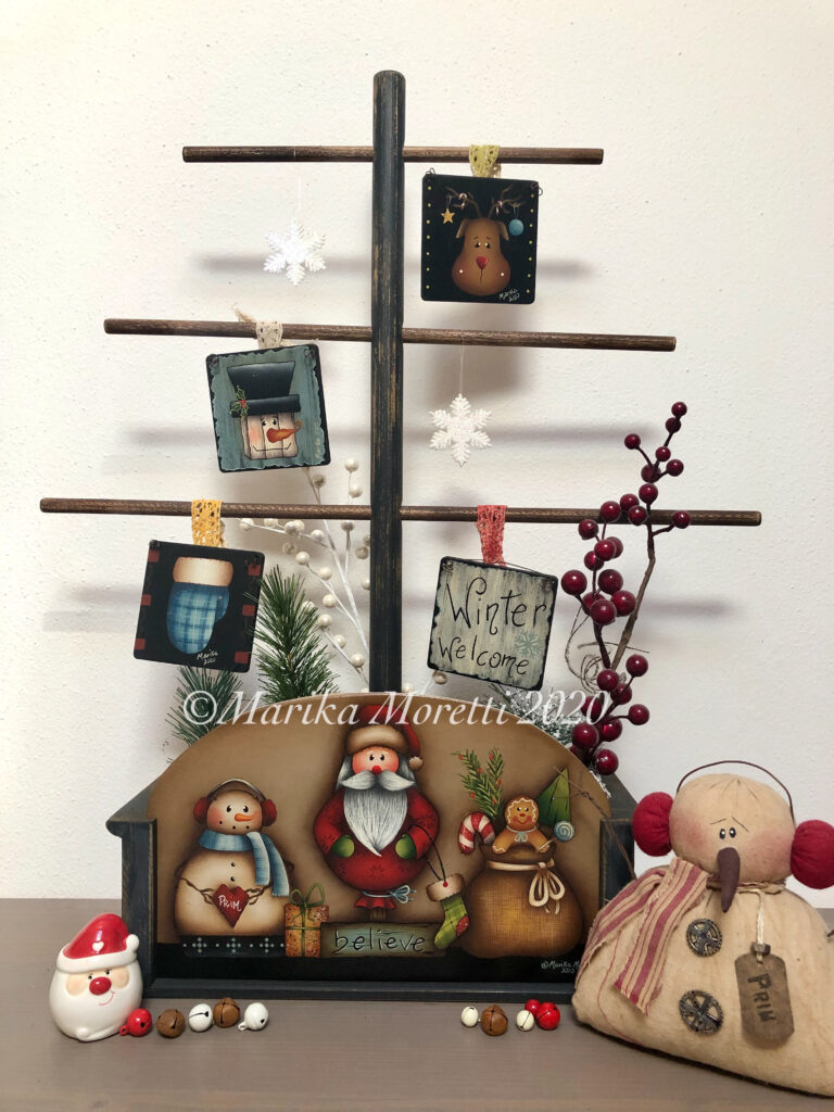 Country Painting Decorazione Natale con Babbi Natale, pupazzo di neve e ornaments